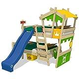 WICKEY Litera CrAzY Castle Cama infantil doble 90x200 Cama alta con tobogán, escalera, techo y somier, verde manzana-amarillo + tobogán azul
