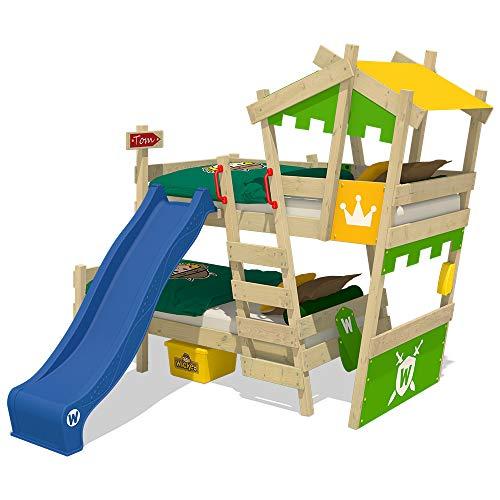 Wickey CrAzY Castle stapelbed, dubbel kinderbed, 90 x 200, hoogslaper met glijbaan, trap, dak en lattenbodem, appelgroen-geel + blauwe glijbaan