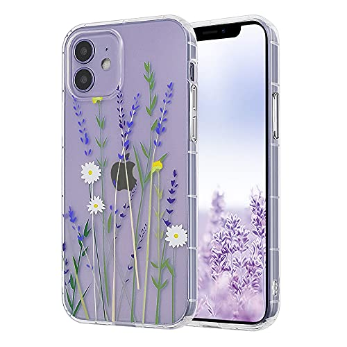 Ownest Kompatibel mit iPhone 11 Hülle,Blumen Transparent Back 3D Floral Muster & Mädchen Frau Weich TPU Bumper Schutzhülle Hülle für iPhone 11-(Lila)