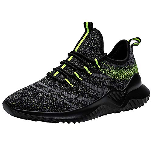 VVQI Laufschuhe Herren Damen Sneaker Sportschuhe Turnschuhe Mode Leichtgewichts Freizeit Atmungsaktive Fitness Schuhe 46 EU 002 4 Schwarz Grün