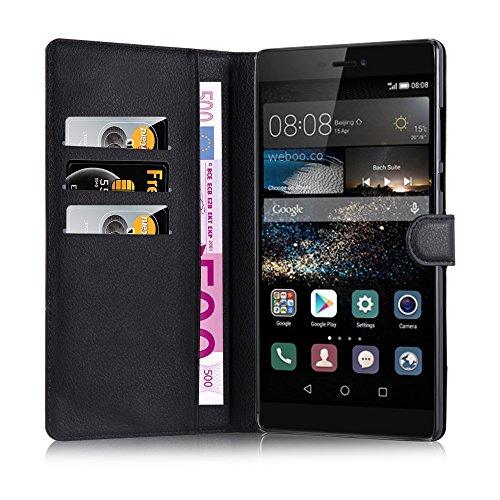 Cadorabo Hülle für Huawei Ascend P8 MAX - Hülle in Phantom SCHWARZ – Handyhülle mit Kartenfach und Standfunktion - Case Cover Schutzhülle Etui Tasche Book Klapp Style - 4