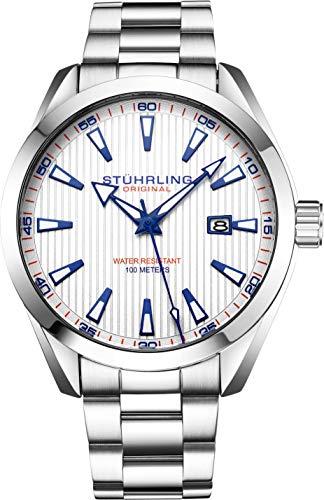 Stuhrling Original Reloj analógico para hombre con fecha, correa de piel de becerro o pulsera de acero inoxidable, 3953 relojes para hombre colección