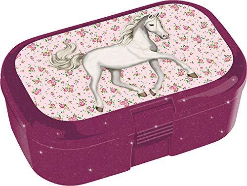 Glitzer-Lunchbox * LUNABELLE PFERDE * für Kinder von Lutz Mauder   10806   Perfekt für Pferde-Fans   Snackbox in Größe: 10,5 x 4,2 x 6,6cm   Brotzeitbox Brotzeit Schule Grundschule Einschulung