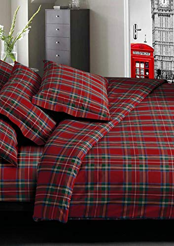 Confezioni Giuliana Completo Lenzuola Cotone Scozzese Tartan Rosso 1p - 1p E 1/2-2p, 2 Piazze