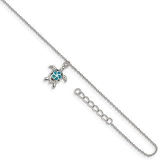 Ryan Jonathan - Cavigliera in argento Sterling con opale blu, lunghezza 22,9 cm + 2,5 cm di estensione