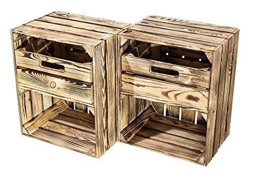 Kontorei® geflammte/braune Obstkiste mit Schublade Quer 50cm x 40cm x 30cm 2er Set Obstkiste Holzkiste Regal