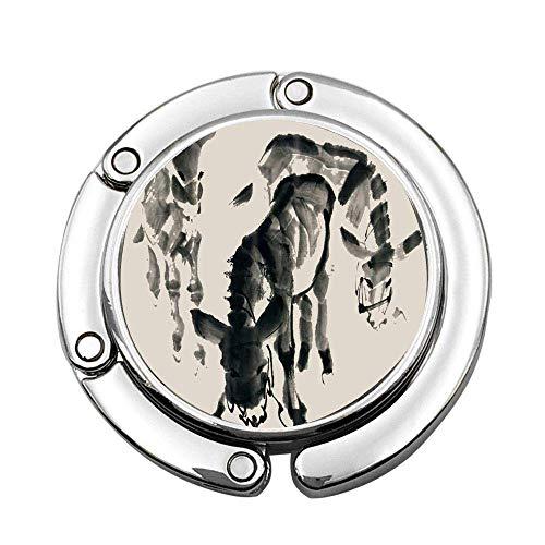 Animal Decor Pittura a inchiostro Asino Pieghevole per borsetta Appendiabiti Appendiabiti da tavolo per borse da donna