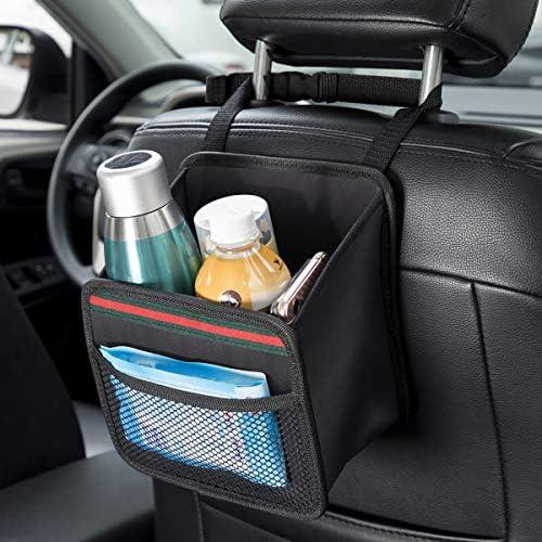 DKIIGAME Car Organizer Back Seat,Hanging Premium Car Seat Organizer,Waterproof Odorless Fabric Mini Trash Bag (Black 9X7.8 in).