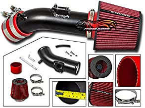 Velocity Concepts MATT BLACK Short Ram Air Intake Kit + RED For 10-12 Mazda 3 All Model with 2.5L L4