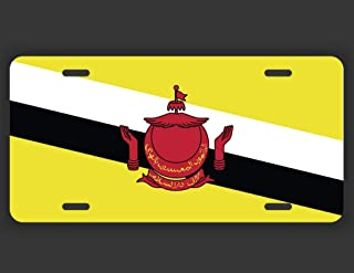Yaoqin88 Brunei Flag License Plate Tag Vanity Novelty Metal UV Printed Metal 6-Inches by 12-Inches Car Truck RV Trailer Wall Shop