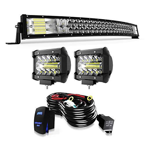 TERRAIN VISION LED Light Bar 32 Inch Curved Led Bar Off Road Light W/ 2pcs 4in 60W LED Pods Fog Lights with Wiring Harness Kit for Jeep Trucks Polaris ATV UTV Boat Light Bars