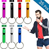 35 Pieces Emergency Whistle with Keychain, Aluminum Emergency Survival Whistle for Camping Hiking Hunting Outdoors Sports, Loud Sound, 7 Colors