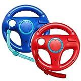 Jadebones 2 Pack Racing Steering Wheel with Wrist Strap for Wii and Wii U Remote Controller (Red+Blue)