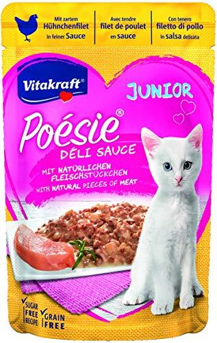 Vitakraft kattenvoering natte voering Poésie Deli- sauce pouch zak junior, 23 stuks (23 x 85 g), Junior kip