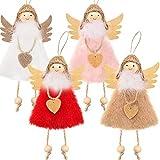 4 Adornos de Muñeca de Ángel de Navidad, Adornos Colgantes de Árbol Decoraciones Colgantes de Elfo Navideño para Árbol Puerta Pared, Rosa, Blanco, Rojo y Caqui