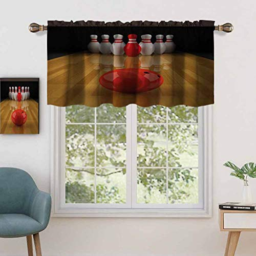 """Thermal Insulated Home Decor Rod Pocket Curtain Valance Alley with Red Skittle in Center Target Score Winning, Set of 1, 52""""x18"""" for Basement Window"""
