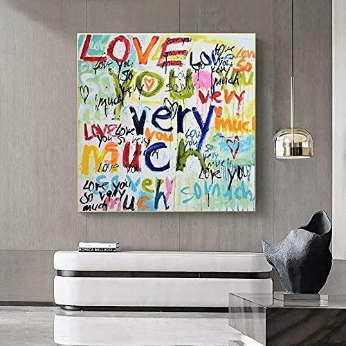 Licnay Diamond Painting Completo Kit para decoración de Arte Pared del hogar DIY 5D Diamante Pintura Bordado de Punto de Cruz Graffiti De Cartas De Amor De Color,Diamante Redondo,80x80cm