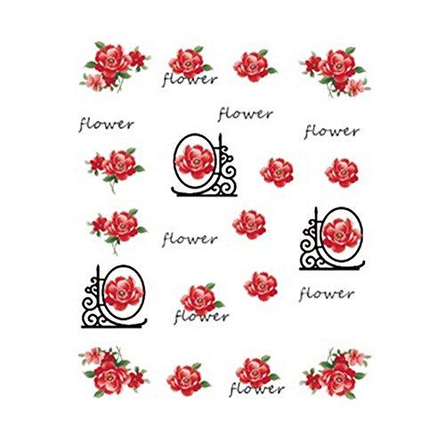 5Pcs Belle Motif Fleurs Nail Art Tips Sticker Décoration, BLE2031