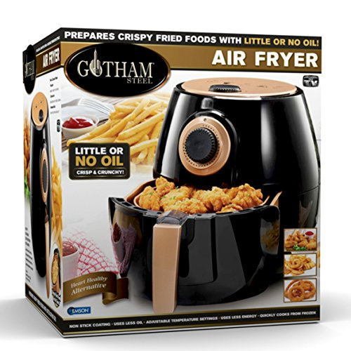 Gotham Steel Air Fryer XL 3.8 Liter with Rapid Air Technology for Oil Free Healthy Cooking Adjustable Temperature Control with Auto Shutoff–Dishwasher Safe with Nonstick Copper Coating–As Seen on TV