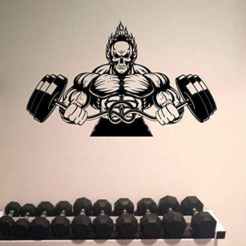 Bodybuilder vinilo pegatina deportes atlético pared pegatina Mural niño adolescente Barbell fondo decorativo pegatina Mural 69x42cm