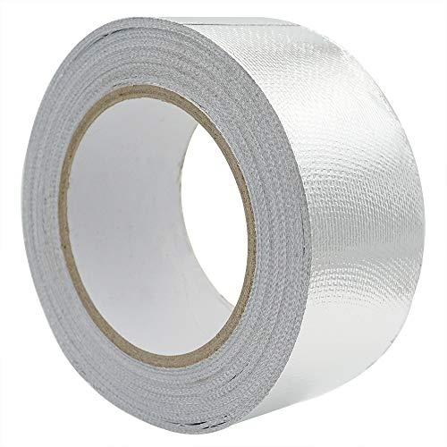 Aluminiumband Selbstklebendes Aluband Thermoshield Hitzeschutzband, Aluklebeband verstärkt mit einem Glasgittergewebe, 50mmx25m Temperaturbeständigkeit -30~120C°