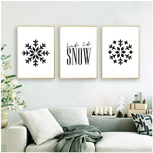 WENJING bedrukt kerstvakantie, wijn, muurkunst, decoratie, sneeuwvlok patroon, posters, kunst, canvas, schilderkunst, woondecoratie, 40 x 60 cm x 3 stuks, geen lijst