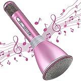 TOSING Mircophone Karaoké sans Fil, Portable Micro Bluetooth pour Enfants Chanter, Fête, Enregistrement, Compatible avec Android/iOS/Smartphone (Rose)