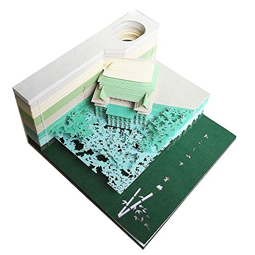DIY Art Block 3D Haftnotizen Praktische Aufkleber Papier Karten Basteln Japan Kreative Post Notizen Memo Pads Neuheit Notizpapier Temple Green