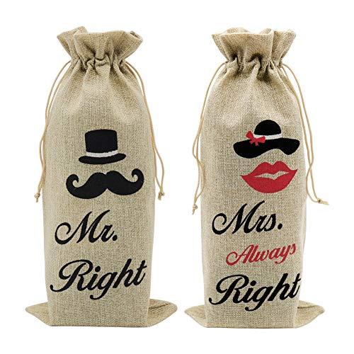 Bolsas de regalo de boda, 14 x 6 1/4 pulgadas de yute para botellas de vino con cordón para bodas, despedidas de soltera, celebración de cumpleaños y cata de vino ciego (2 unidades, marrón)