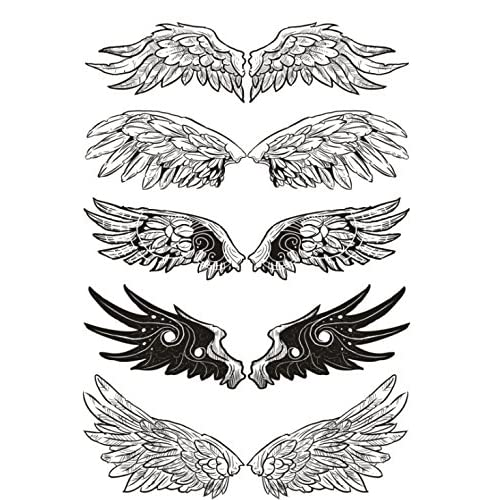 cf23ff121 Set of 2 Waterproof Temporary Fake Tattoo Stickers Cool Black Grey Angel  Wings Classic