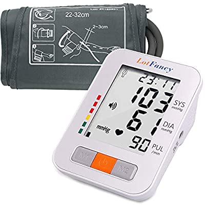 LotFancy FDA Approved Auto Digital Arm Blood Pressure Monitor,4 Inch LCD,30x4 Memories for 4 Users,Irregular Heartbeat Detector,WHO Indicator