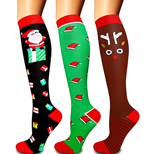 Compression Socks for Women and Men(1/3 Pairs)-Best for Running,Nursing,Circulation,Recovery & Travel (Multicoloured5 - 3 Pairs, Small/Medium)