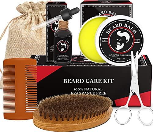 Beard Growth Kit for Men - Beard Grooming Kit with Beard Oil, Beard Balm, Beard Brush, Beard Comb, Beard Scissor, Beard Care Kit, Fathers Day Gifts for Men Dad Him Boyfriend Brother Husband