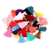 MSCFTFB 100 Pieces Mini Tassels Mala Tassel Kit with Jump Rings for Earring Necklace Jewelry Making Garland Keychain Charms Crafts Decorations (Multi)