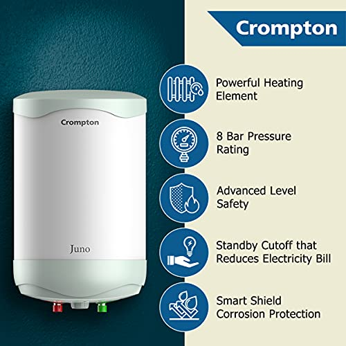 Crompton Juno 15-L 5 Star Rated Storage Water Heater with Free Installation and Connection Pipes (White)