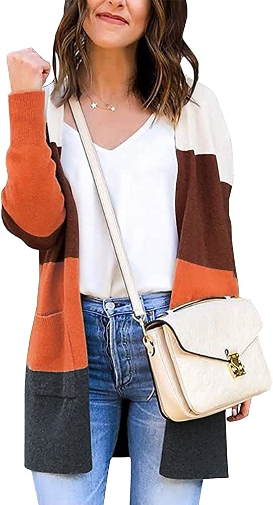 OWIN Women's Stripes Cardigan Color Block Sweaters Coat Open Front Draped Knit Cardigans Casual Loose Knitwear with Pockets