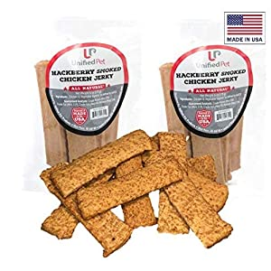 Unified Pet All Natural Healthy Dog Jerky Treats Made in USA – Smoked, Tender, Premium Jerky Sticks – Grain Free – Beef, Chicken and Turkey Options – 12 Ounces (Chicken – Hackberry Smoked)