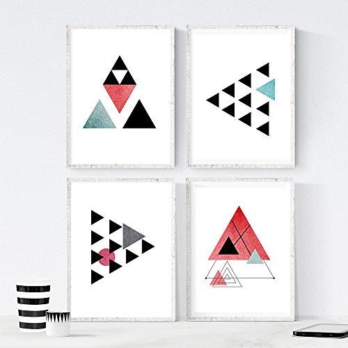Nacnic Set de 4 láminas para enmarcar GEOMETRICOS. Posters Estilo nórdico con...