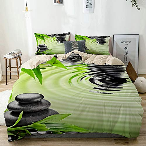 KOSALAER Parure de lit avec Housse de Couette en Microfibre,Pierres de Basalte Zen et Bambou,Housse de Couette 240cm x 260cm avec 2 taies