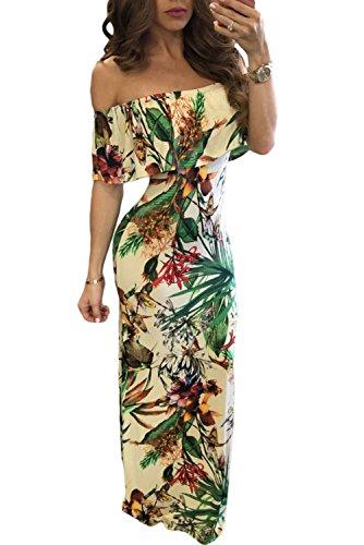 Happy Sailed Women Floral Print Off-The-Shoulder Maxi Dress, X-Large Botanic Print (Apparel)