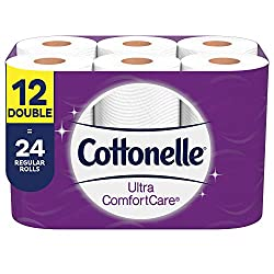 Cottonelle Ultra ComfortCare Toilet Paper, 12 Double Rolls, Soft Bath Tissue