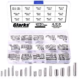 Glarks 180Pcs M2 M2.5 M3 M4 Slotted Spring Pin Assortment Kit, Split Spring Dowel Tension Roll Pins - 304 Stainless Steel
