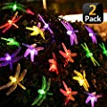 KANYEE 2 Pack Solar Honeybee Decorative LED String Lights Patio Fence Decor Waterproof
