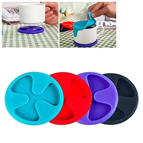 XGQ Antideslizante Silicona Rojo Vino y té y Taza de café tapete/Tapa de Taza, Entrega de Color Aleatorio