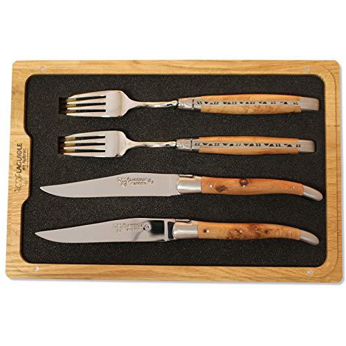 Laguiole en Aubrac Set de 2 fourchettes à couteau, bois d'olivier, CCF99OLIH