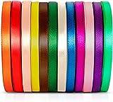 Cinta de raso de colores mixtos, 1 cm de ancho, cintas para envolver regalos, fiestas de cumpleaños, bodas, San Valentín (12 colores)