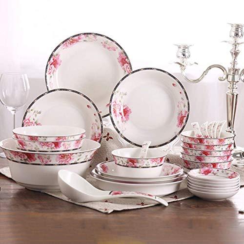 XUSHEN-HU Juego de vajilla de cerámica de cerámica, cuenco/cuchara/plato, 28 piezas, vajilla de porcelana de hueso, juego de vajilla – fiesta familiar y cocina restaurante vintage