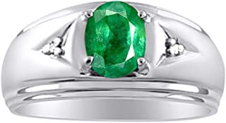 Mens Classic Genuine Emerald & Diamond Ring Set in Sterling Silver .925 May Birthstone
