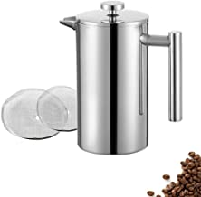 Meelio 1 Liter 18/8 Double Wall Stainless Steel Coffee French Press,Insulated Coffee or Tea Brewed Maker/Pot 8 Cup/4 Mug, 34OZ (With 2 Extra Filter)