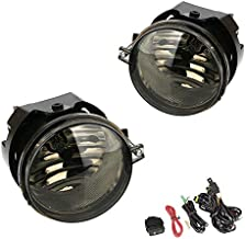Driving Fog Lights Lamps Replacement for Dodge Caravan Charger Challenger Caliber Chrysler Pacifica Sebring Patriot Compass with H8 12V 35W Halogen Bulbs & Switch and Wiring Kit (Smoke Lens)